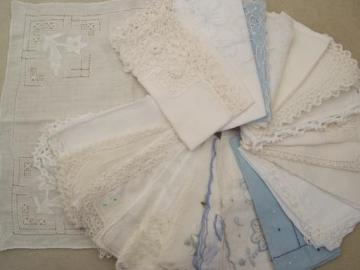 lot vintage hankies, Swiss and Madeira style embroidered lace handkerchiefs
