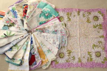 lot vintage hankies w/ flower prints, 25 pretty printed cotton handkerchiefs