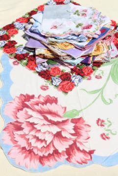lot vintage hankies w/ flower prints, 30+ pretty printed cotton handkerchiefs