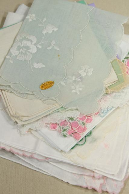 lot vintage hankies for crafting or baby shower decorations M is for Mother, Mother's Day