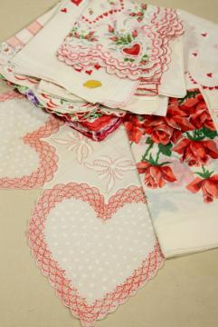 lot vintage hankies w/ holiday prints, Valentine hearts & flowers handkerchiefs