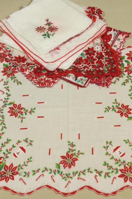 lot vintage hankies w/ holiday prints, cotton handkerchiefs for Christmas