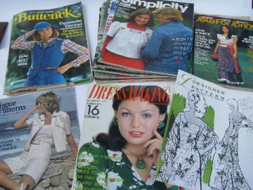 lot vintage home sewing pattern catalogs, 70s retro mod, Vogue patterns etc.