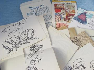 lot vintage kitchen embroidery designs, appliance cover sewing patterns