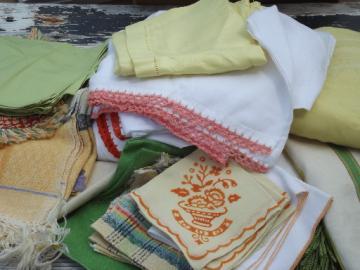 lot vintage kitchen linens, retro south of the border fiesta colors!