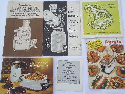lot vintage kitchenware / kitchen appliance owners manuals, instructions