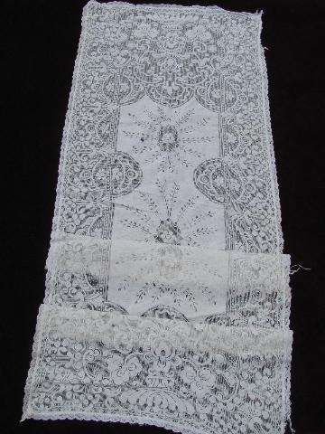 cotton runners,  lace scarves lot table / runners table vintage  vintage  needle dresser net
