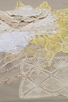 lot vintage lace table linens, doilies & tray cloths, crochet centerpieces