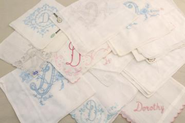 lot vintage ladies hankies, D monogram letter embroidered handkerchiefs