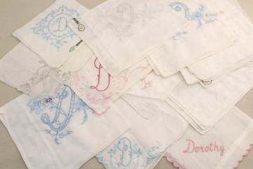 lot vintage ladies hankies, D monogram letter embroidered handkerchiefs