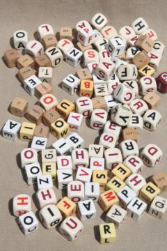 lot vintage letter cube dice, word game pieces, wood & plastic cubes of letters