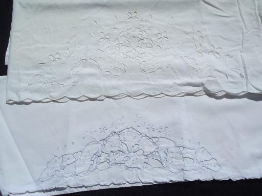 lot vintage linen and cotton pillowcases w/ whitework, crochet lace on white