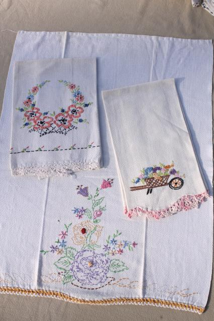 lot vintage linens w/ crochet lace & embroidery, kitchen tea towels and guest hand towels