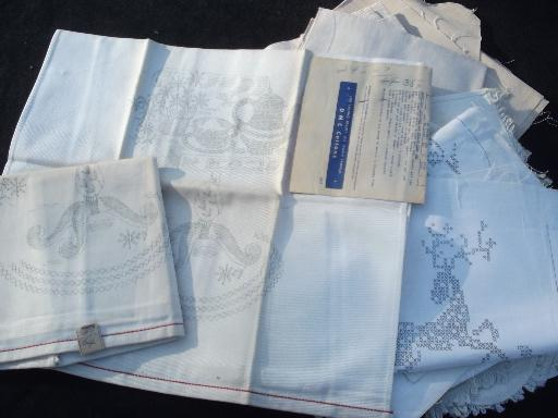 lot vintage linens stamped to embroider, pure linen & cotton for embroidery