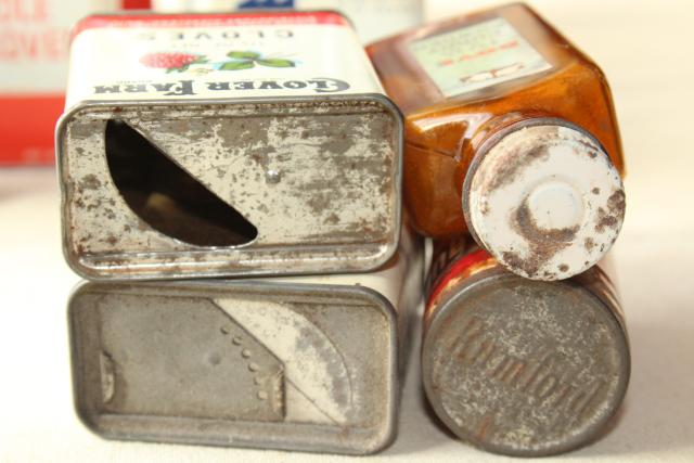 lot vintage metal spices tins, boxes, glass bottle from Dove, Frank Tea Spice Co