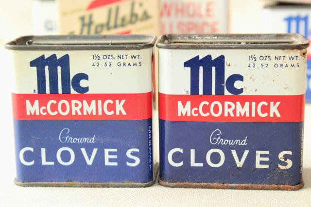 Lot Vintage Metal Spices Tins Boxes Glass Bottle From