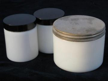 lot vintage milk glass apothecary jars, antique black bakelite lids