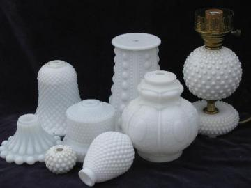lot vintage milk glass boudoir lamp / lighing parts, Fenton hobnail pattern, etc.