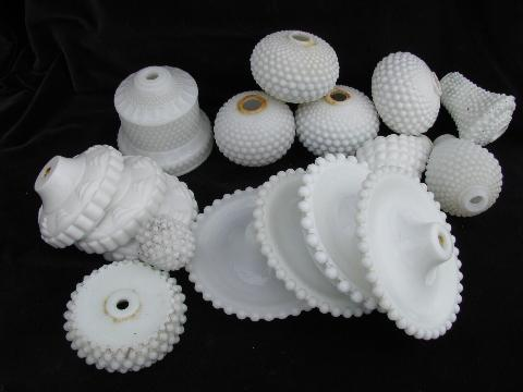 lot vintage milk glass lamp parts, Fenton etc.
