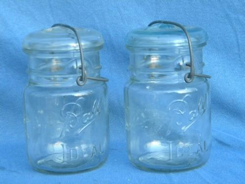 lot vintage old 1 pt Ball Ideal mason storage jars w/glass and wire lids