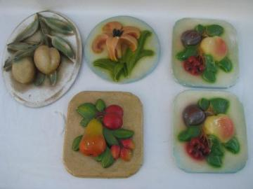 lot vintage painted plaster chalkware wall plaques, flowers & fruit