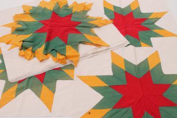 lot vintage patchwork quilt blocks, red jade mustard solids pieced western stars