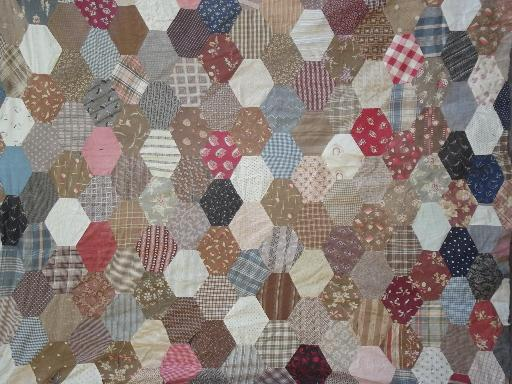 lot vintage patchwork quilt tops w/ old print fabric blocks