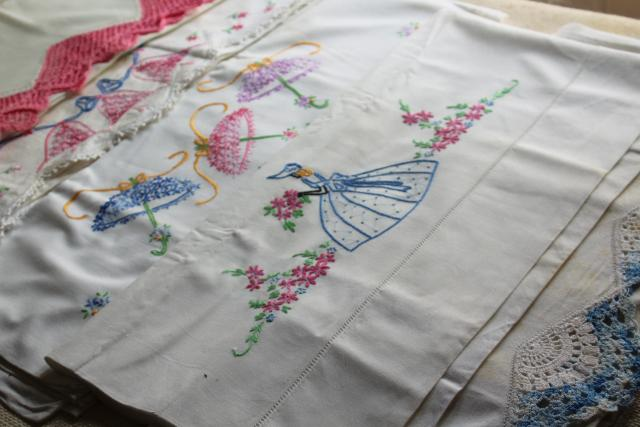 lot vintage pillowcases w/ embroidery & crochet lace, fixer uppers linens to soak or upcycle