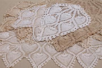 lot vintage pineapple crochet chair set doilies, fan motifs crocheted lace