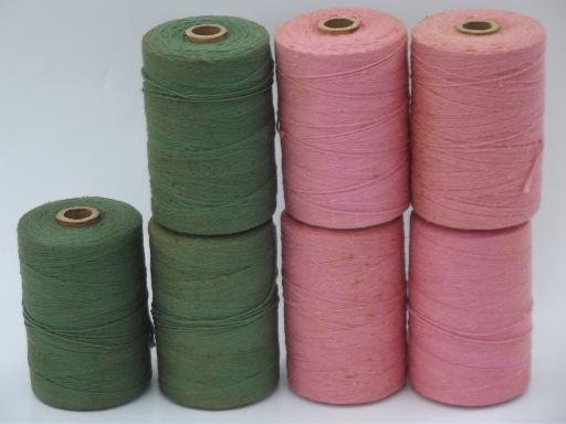 lot vintage pink and green cotton rug thread, carpet warp weaving cord