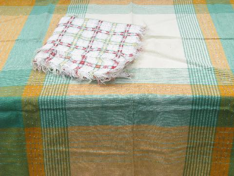 Lot Vintage Plaid Cotton Kitchen Tablecloths Or Picnic Table Cloths, 1950s    60s