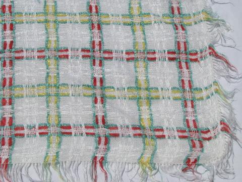 Lot Vintage Plaid Cotton Kitchen Tablecloths Or Picnic Table Cloths, 1950s    60s