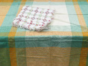 lot vintage plaid cotton kitchen tablecloths or picnic table cloths, 1950s - 60s
