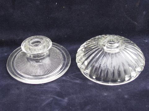 lot vintage pressed glass light parts, lamp bodies, bases