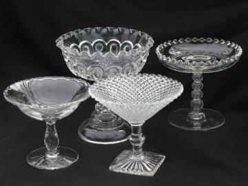 lot vintage pressed pattern glass compotes, Century, Candlewick, English Hobnail