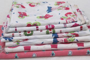 lot vintage print cotton feed sack fabric, assorted scrap pieces for sewing / quilting