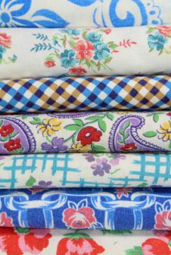 lot vintage print cotton feed sack fabric, feedsack pieces for quilting, small sewing projects