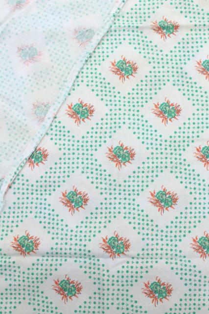 lot vintage printed cotton feedsack fabric, lavender / blue prints feed sacks