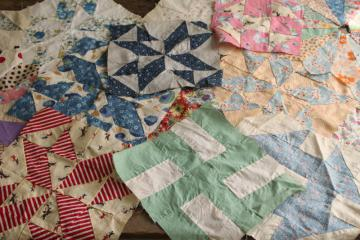 lot vintage quilt blocks, craft & upcycle sewing fabric mismatched patchwork patterns