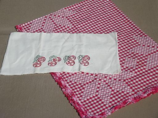 lot vintage red & white kitchen linens, towels, potholders, apron etc.