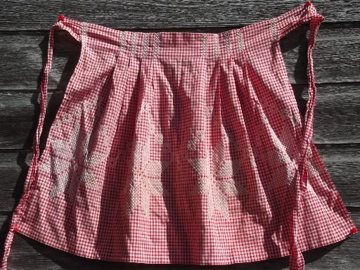 lot vintage red and white checked gingham half aprons, one for each day of the week