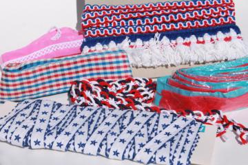 lot vintage red, white & blue trims & edgings for patriotic crafts & sewing projects