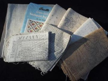 lot vintage rug canvas backs for hooked, cross-stitch, fluff rugs etc.