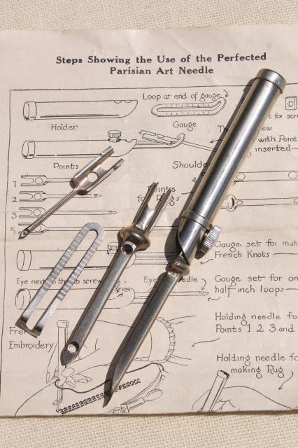 Lot Vintage Rug Tools Punch Needle Hooks Hoop Braided