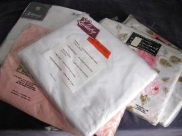 lot vintage sealed package cotton bed linens, white & roses sheets