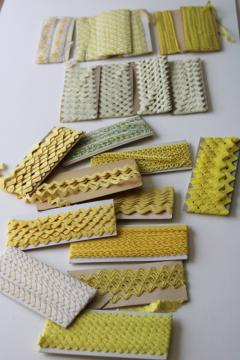 lot vintage sewing craft trims, edging, rick-rack, lace - yellow & cream shades