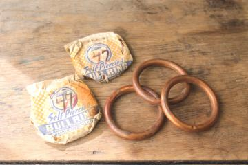 lot vintage solid copper bull rings, big heavy nose ring for farm ranch livestock