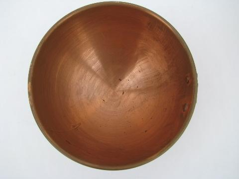 lot vintage solid copper kitchenware, round bottom mixing bowls