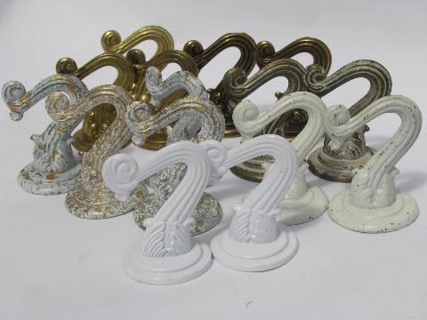 lot vintage swag chain lamp hanging hooks & hardware, cup hook style