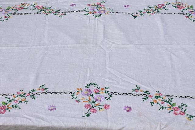 lot of vintage table linens, cotton & linen cloth tablecloths, napkins & sets